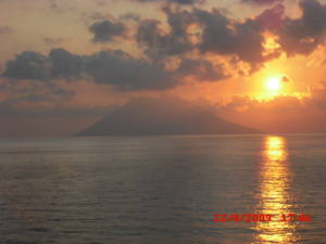 Stromboli volcano in sunset